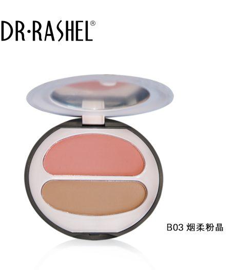 Dr. Rashel Ladies Long Wearing Velvet Touch Blush Duo for Girls & Women - Smokey Powder Crystal