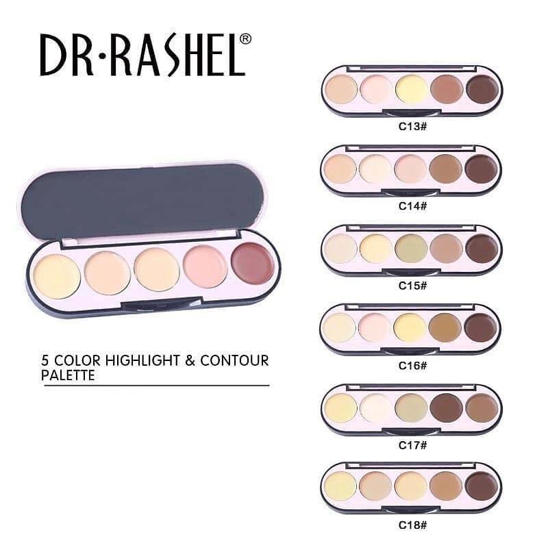 Dr. Rashel 5 Colors Highlight & Contour Palette for Ladies - C13 1