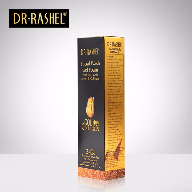 Dr Rasheal 24K Gold Collagen Facial Wash Cleanser Gel Foam 100ml - 1