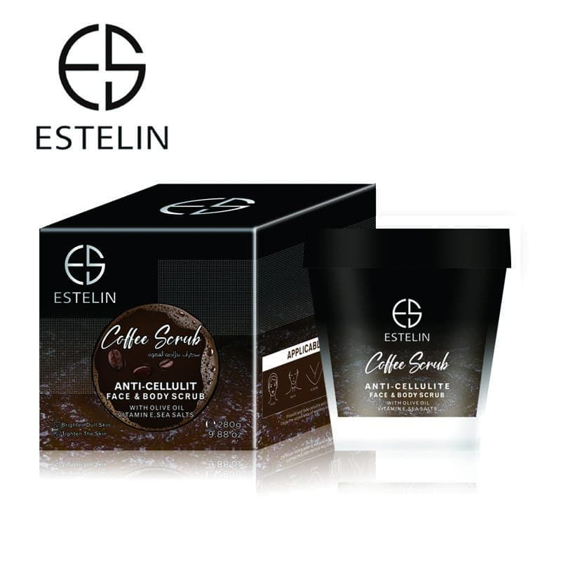 Estelin Coffee Body And Facial Scrub With Olive Oil And Vitamin E 280g 2