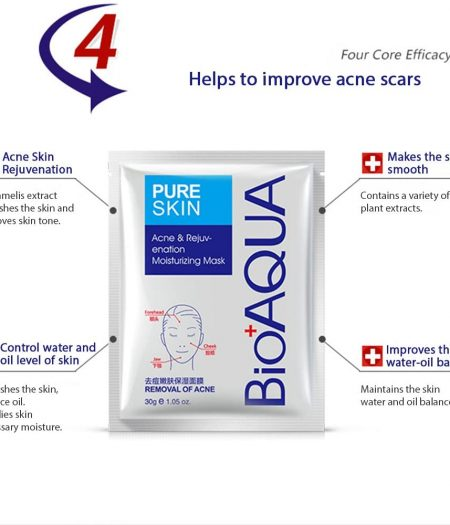 BIOAQUA Acne Pure Skin Acne Removal Rejuvenation Moisturizing Mask 5 packs 1