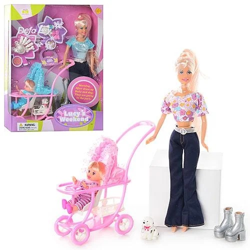 Defa Lucy Barbie Doll with Baby Stroller 1