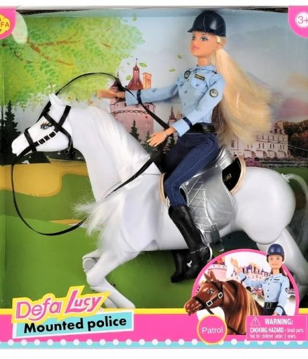Defa Lucy Barbie Doll Horse Mounted Police 2
