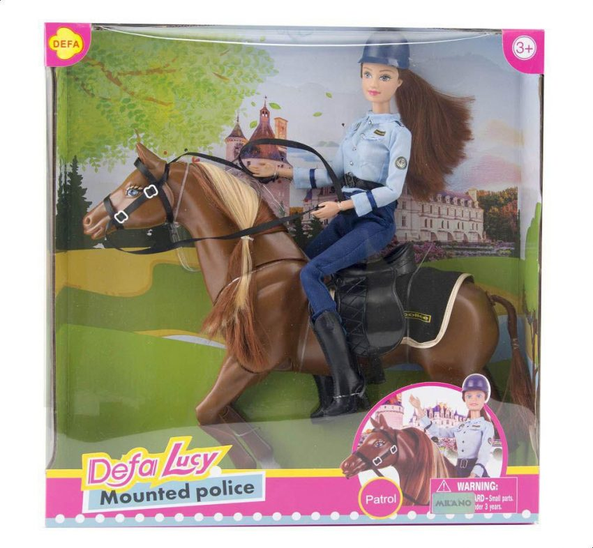 Defa Lucy Barbie Doll Horse Mounted Police 3