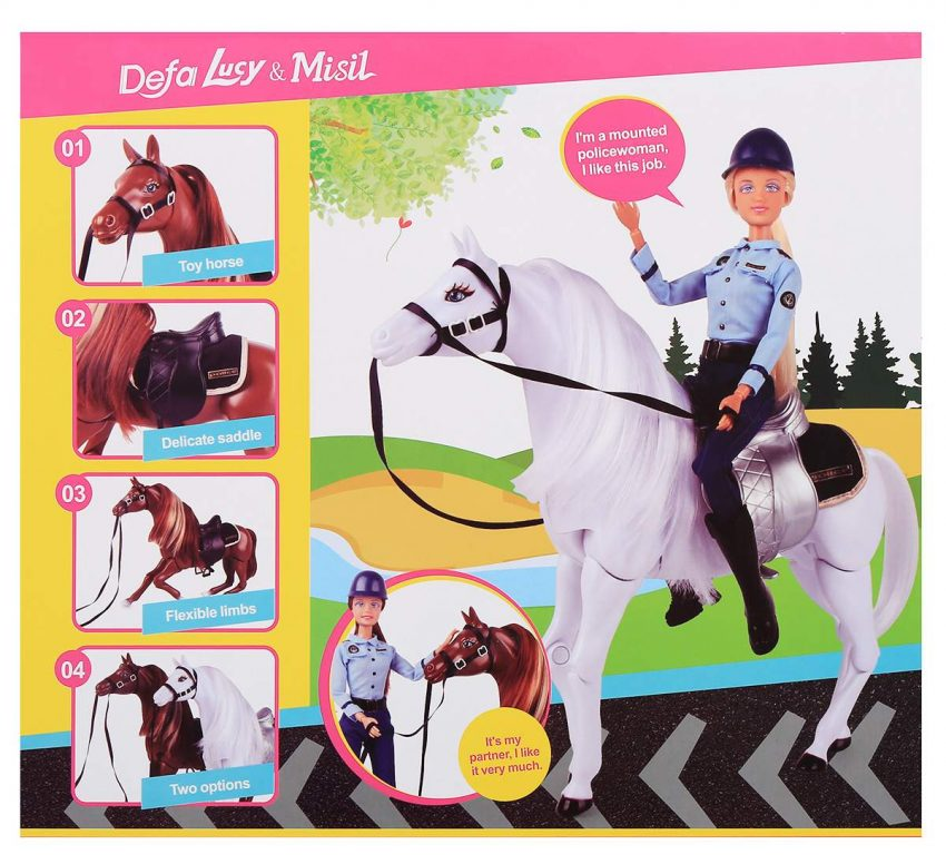 Defa Lucy Barbie Doll Horse Mounted Police 4