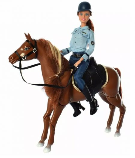 Defa Lucy Barbie Doll Horse Mounted Police 1