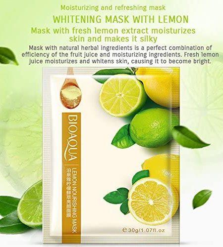 BIOAQUA Lemon Facial Mask Smooth Moisturizing Face Mask Skin Care 30g x 5 1