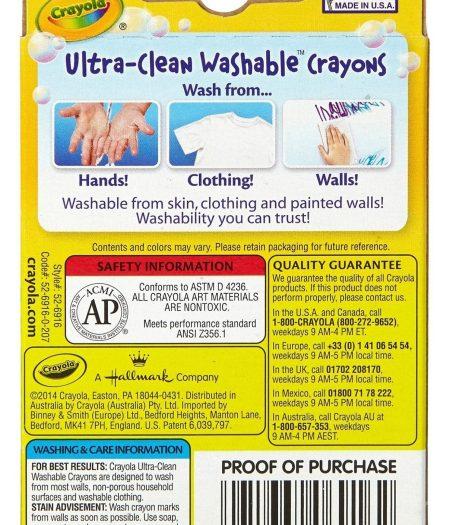 Crayola Ultra-Clean Washable Crayons Regular 16 Colors