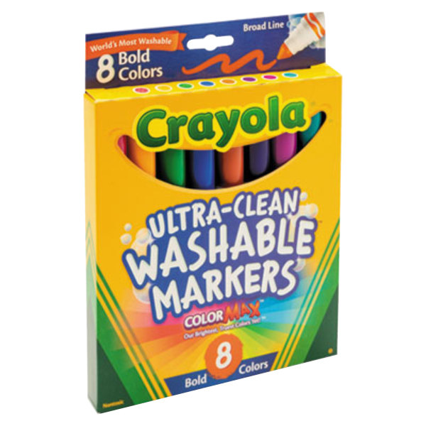 Crayola Ultra-Clean Assorted 8-Count Bold Color Broad Point Washable Markers 1