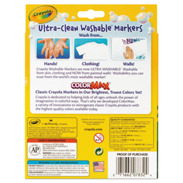 Crayola Ultra-Clean Assorted 8-Count Bold Color Broad Point Washable Markers 2