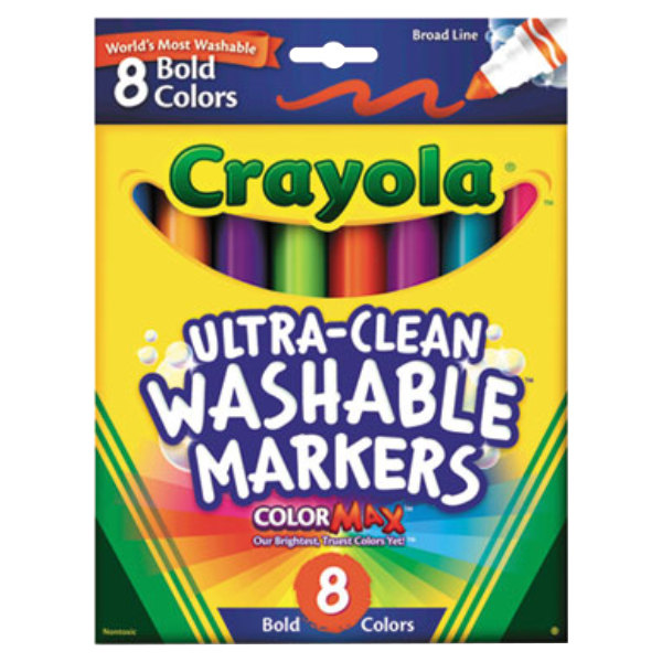 Crayola Ultra-Clean Assorted 8-Count Bold Color Broad Point Washable Markers