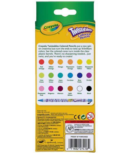 Crayola Twistables 18 Assorted Colored Pencils